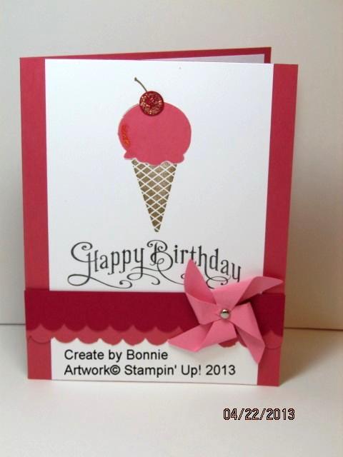 Bonnie's icecream cone card