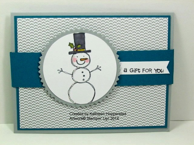 Kathleenh-snowman gift card holder front